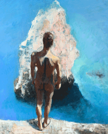 Immobile and undecided male figure   rocks and sea