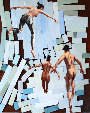 Painting of falling figures on broken background