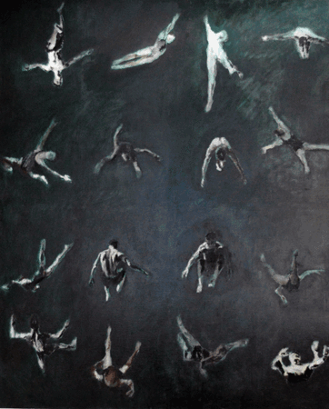 Painting of Rotating Gymnasts and athletes