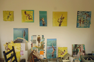 Artisti's studio Wall of paintings