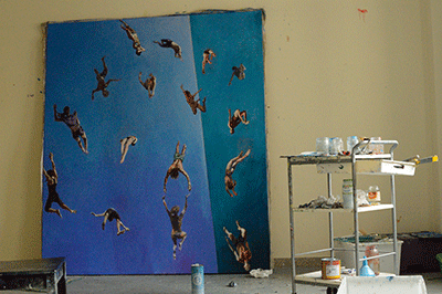 Painting called Unison in studio