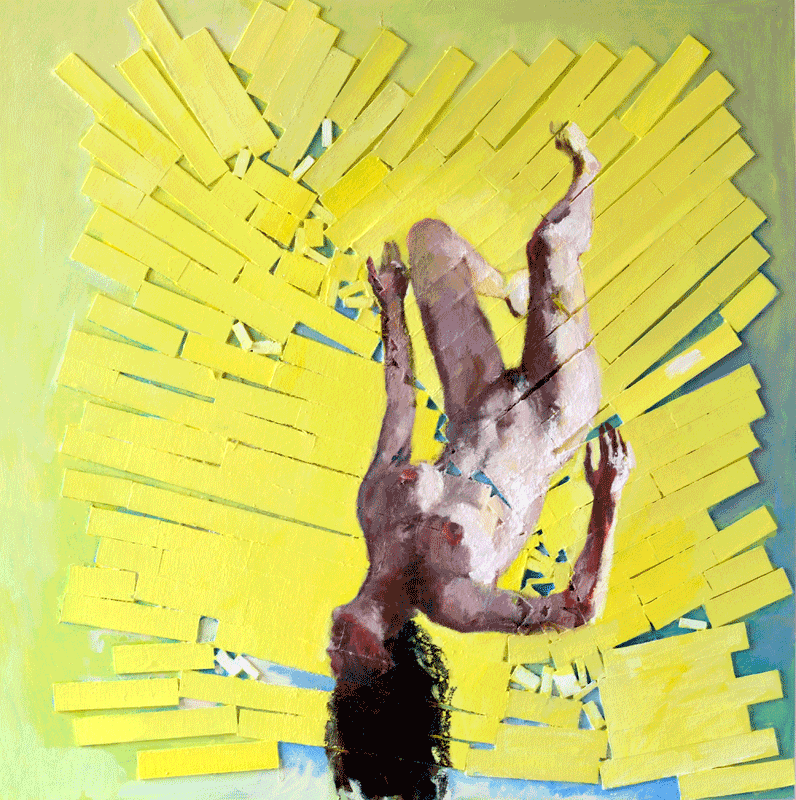 Suspended figure in fragmented explosive yellow universe