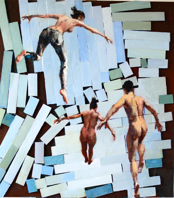 Falling human figures falling into a decomposing semigeometric background