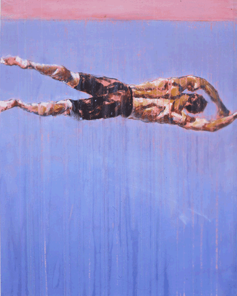 painting of horizontal man revolving in space